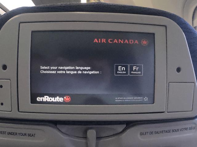 写真:エア・カナダの座席ディスプレイ