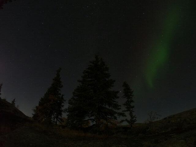 写真:オーロラと星空(イエローナイフ・ラッサム島にて)